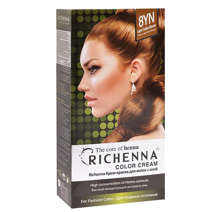 Richenna Крем-краска для волос, с хной, оттенок 8YN Светло-золотой блонд