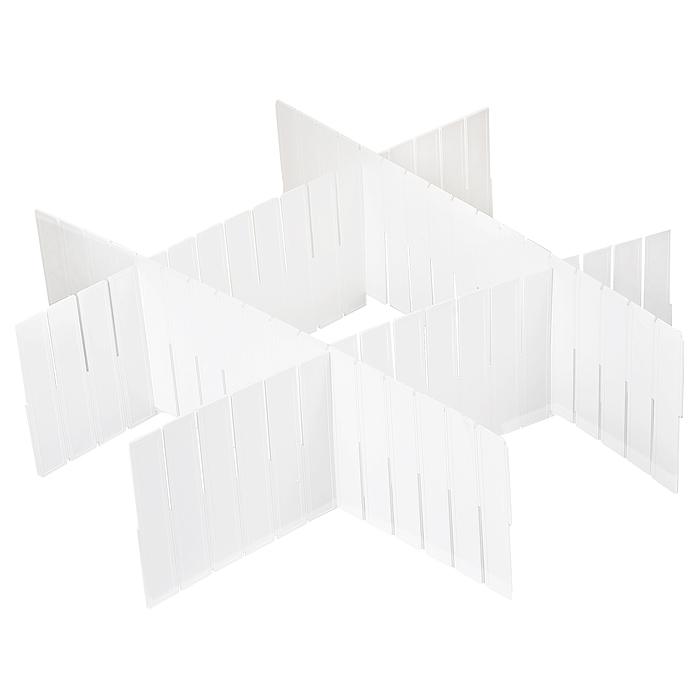 Набор разделителей для ящиков Loks, цвет: белый, 4 штL102-113Набор разделителей для ящиков Loks выполнен из пластика белого цвета. Пластиковые разделители предназначены для организации пространства в ящиках столов и шкафов. Особая конструкция изделия позволяет оптимально подобрать размер секций под разные типы ящиков (в случае необходимости лишние секции разделителей можно отрезать). Набор укомплектован инструкцией по установке. Набор разделителей для ящиков Loks поможет сохранить порядок и оптимизировать пространство ящика. Характеристики: Материал: пластик. Цвет: белый. Размер разделителей: 41 см х 13 см. Комплектация: 4 шт. Размер упаковки: 50 см х 14 см х 1 см. Артикул: L102-113. Страна: Китай.
