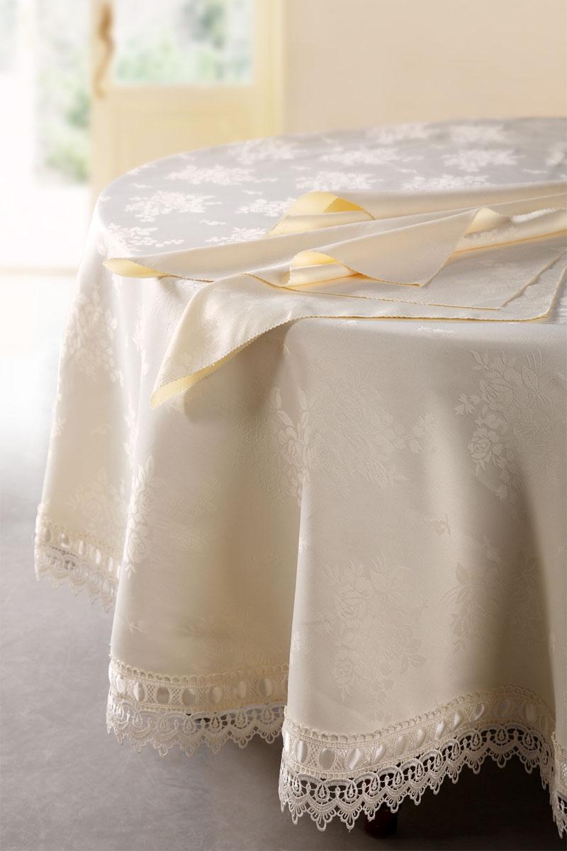Комплект столовый SL, цвет: бежевый, 9 предметов. 0867808678Роскошный комплект столового белья SL состоит из скатерти овальной формы и восьми квадратных салфеток с фигурными краями. Комплект выполнен из ацетатного шелка с жаккардовым рисунком. Края скатерти декорированы изысканным кружевом и лентой. Комплект, несомненно, придаст интерьеру уют и внесет что-то новое. Использование такого комплекта сделает застолье более торжественным, поднимет настроение гостей и приятно удивит их вашим изысканным вкусом. Вы можете использовать этот комплект для повседневной трапезы, превратив каждый прием пищи в волшебный праздник и веселье. Жаккард - одна из дорогих тканей. Жаккардовые ткани очень прочны и долговечны, очень удобны в эксплуатации. Изготавливается жаккард благодаря особой технике плетения в основном из хлопчатобумажной, синтетической или смесовой пряжи. Своеобразный рельефный рисунок, который получается в результате сложного плетения на плотной ткани, напоминает своего рода гобелен. Комплект упакован в...