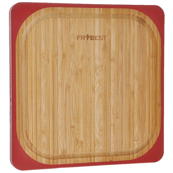 Доска разделочная Frybest Lux, бамбуковая, 25 х 25 смFY0010Квадратная разделочная доска Frybest Lux, выполненная из высококачественной древесины бамбука, станет незаменимым аксессуаром на вашей кухни. Бамбук - инновационный материал, идеально подходящий для разделочных досок. Доски из бамбука обладают высокой плотностью структуры древесины, а также устойчивы к механическим воздействиям. Силиконовая окантовка по краям доски предотвратит ее скольжение по поверхности стола. Доска также имеет углубление для стока жидкости вдоль края. Подходит для резки или рубки мяса и рыбы, а также для сервировки таких блюд, как суши. Функциональная и простая в использовании, разделочная доска Frybest Lux прекрасно впишется в интерьер любой кухни и прослужит вам долгие годы.