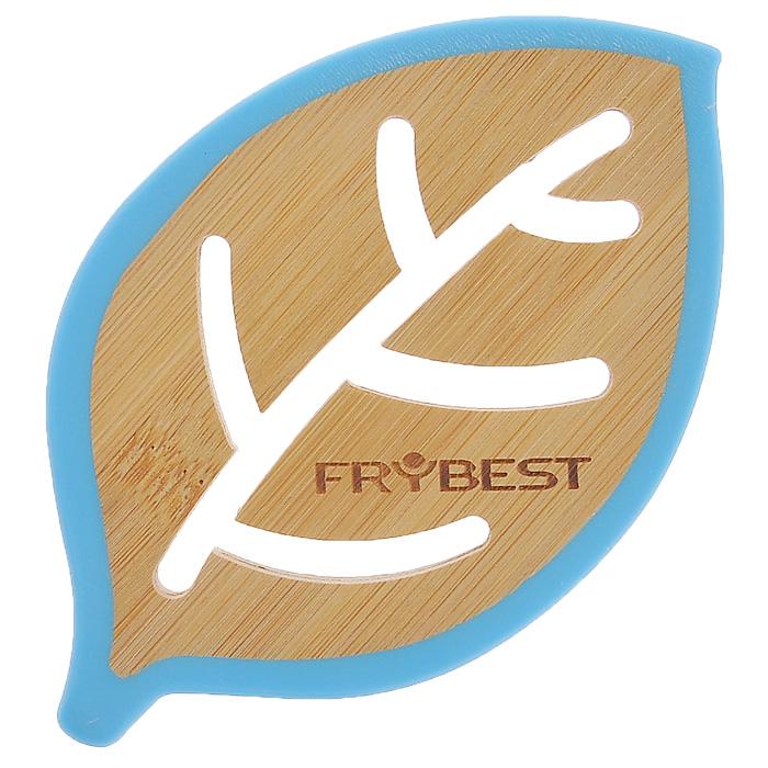 Подставка под горячее Frybest Листок бамбуковая, цвет: голубой, 14 см х 9 смCO08715B4O1Подставка под горячее Frybest Листок выполнена из высококачественной древесины бамбука в виде листочка с декоративной перфорацией. Подставка способна выдержать высокие температуры, а благодаря силиконовой цветной окантовке не скользит по поверхности стола. Каждая хозяйка знает, что подставка под горячее - это незаменимый и очень полезный аксессуар на каждой кухне. Ваш стол будет не только украшен яркой и оригинальной подставкой, но и сбережен от воздействия высоких температур.