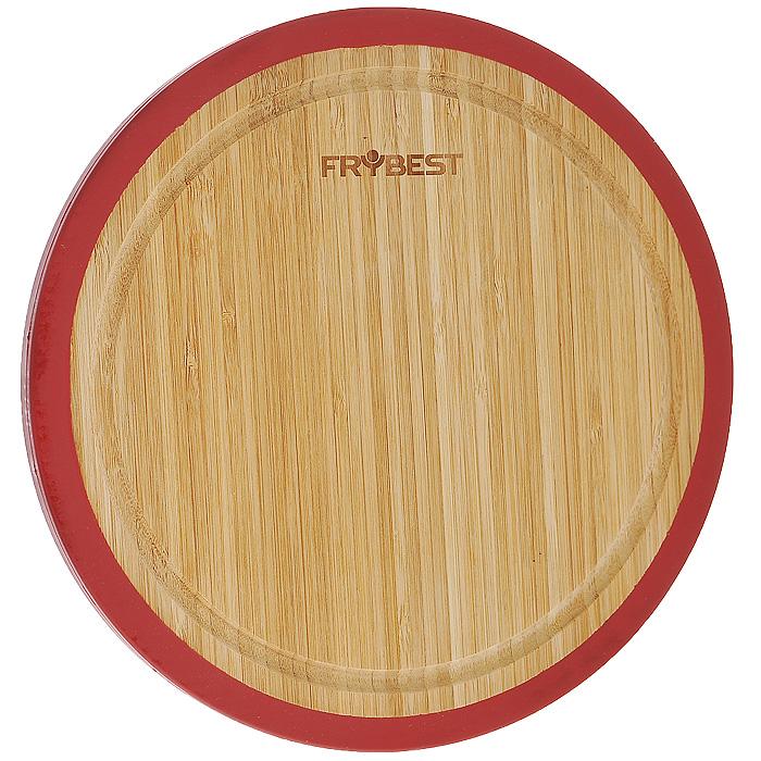 Доска разделочная Frybest Lux, бамбуковая, диаметр 33 смFY0008Круглая разделочная доска Frybest Lux, выполненная из высококачественной древесины бамбука, станет незаменимым аксессуаром на вашей кухни. Бамбук - инновационный материал, идеально подходящий для разделочных досок. Доски из бамбука обладают высокой плотностью структуры древесины, а также устойчивы к механическим воздействиям. Силиконовая окантовка по краям доски предотвратит ее скольжение по поверхности стола. Доска также имеет углубление для стока жидкости вдоль края. Подходит для резки или рубки мяса и рыбы, а также для сервировки таких блюд, как суши. Функциональная и простая в использовании, разделочная доска Frybest Lux прекрасно впишется в интерьер любой кухни и прослужит вам долгие годы. Диаметр доски: 33 см.