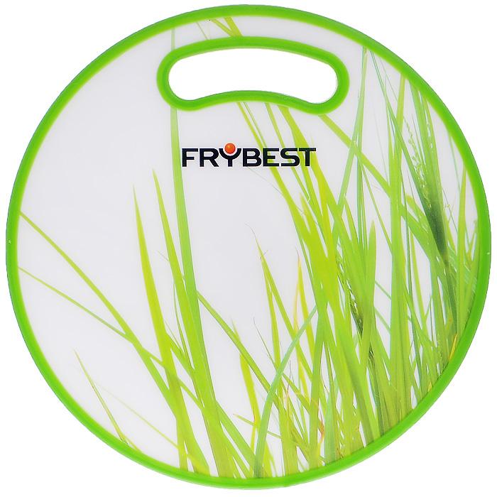 """Доска разделочная Frybest """"Трава"""" бамбуковая, диаметр 30 см"""