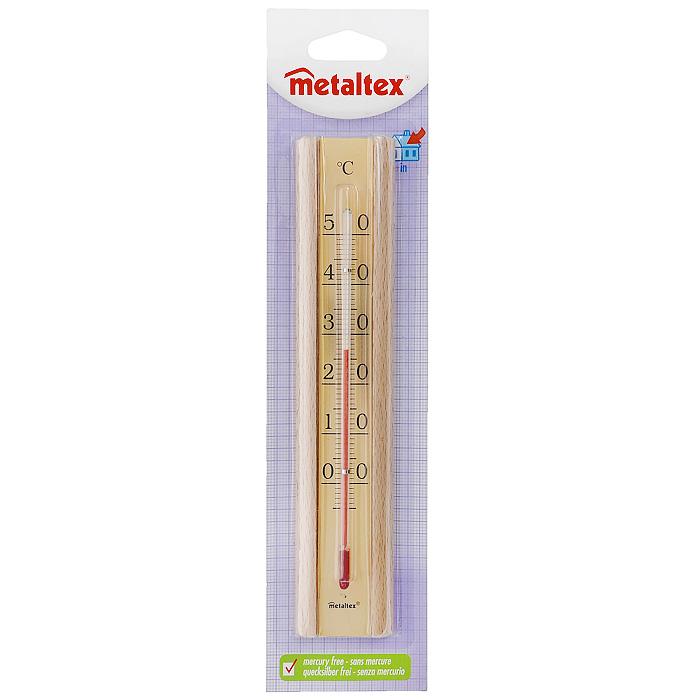 Термометр Metaltex, цвет: бежевый29.80.10Термометр Metaltex выполнен из дерева и оснащен шкалой золотистого цвета с крупными цифрами. Он предназначен для измерения температуры воздуха в помещении. Экологически безопасный термометр - не содержит ртуть.
