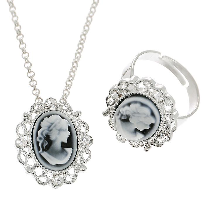 Комплект украшений 'Fashion House': колье, кольцо, цвет: серебристый, черно-белый. FH30419