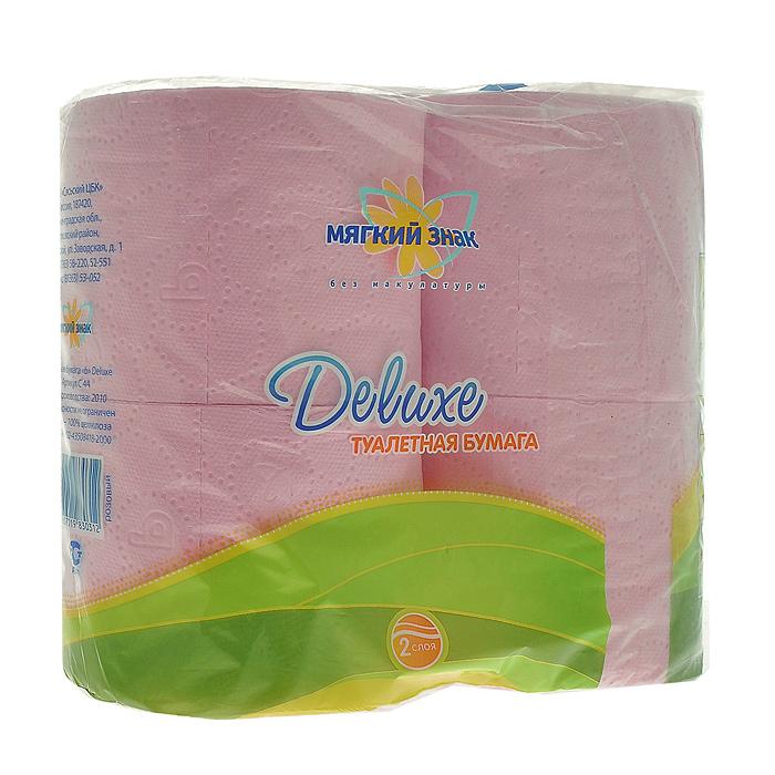 Туалетная бумага Мягкий знак Deluxe, двухслойная, цвет: розовый, 4 рулона273Двухслойная туалетная бумага Мягкий знак Deluxe, выполненная из натуральной целлюлозы, обеспечивает превосходный комфорт и ощущение чистоты и свежести. Она отличается необыкновенной мягкостью и прочностью. Бумага хорошо перфорирована, не расслаивается и отрывается строго по просечке.
