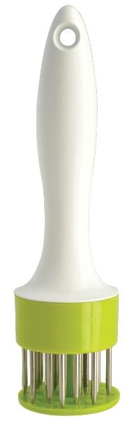 Размягчитель для мяса Regent Inox Presto93-AC-PR-18Размягчитель для мяса Regent Inox Presto выполнен из пищевого пластика и качественной нержавеющей стали и имеет высокопроизводительный пружинный механизм. Размягчитель идеально подходит для подготовки к приготовлению всех видов мяса. Обработка продуктов происходит без шума и брызг. В отличие от отбивки молотком, размягчитель не нарушает структуру мяса и его внешний вид. Разрушает соединительные ткани в мясе, делая его мягким, нежным и сочным. Мясо быстрее маринуется, равномернее пропекается, а время приготовления значительно сокращается. Специи и маринад попадают внутрь продукта, а не остаются на поверхности. Готовым блюдам обеспечены великолепные вкусовые качества и аромат. Изделие можно мыть в посудомоечной машине.