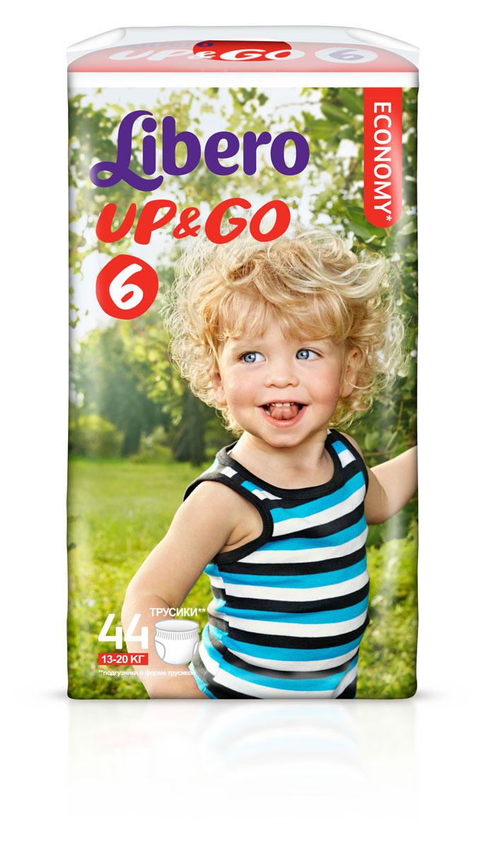 Libero Up&Go Подгузники-трусики 6, 13-20 кг, 44 шт5515Подгузники-трусики Libero Up&Go, выполненные из тонкого супермягкого материала, сидят как настоящие детские трусики и заботятся о сухости и комфорте вашего малыша. Преимущества подгузников-трусиков Libero Up&Go: позволяют коже дышать, при этом хорошо впитывают; эластичный удобный поясок; не содержат лосьонов; легко и быстро надеваются и снимаются при разрывании боковых швов; клеящая лента позволяет с легкостью свернуть подгузник после использования; в упаковке 5 разных дизайнов трусиков.