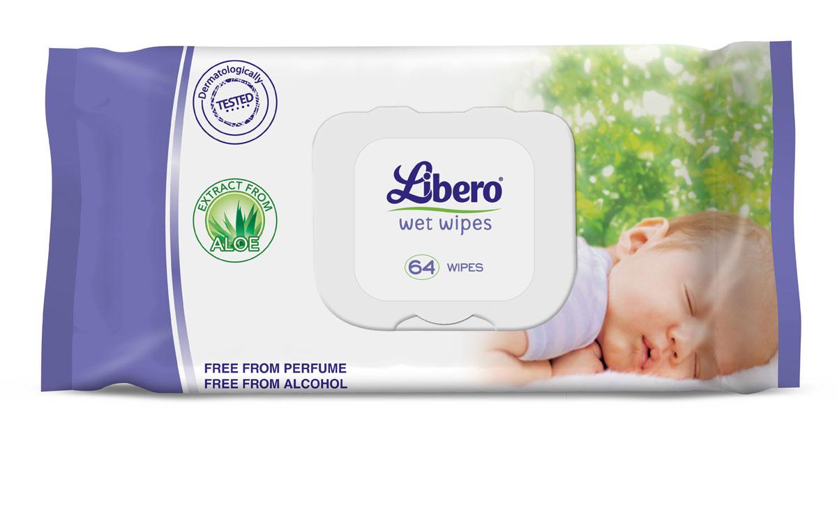 Libero Влажные Салфетки 64 шт4356Сменный блок для влажных салфеток Либеро, 64 штуки Влажные салфетки Libero с экстрактом алоэ идеально подходят для очищения кожи малыша при смене подгузника. ...