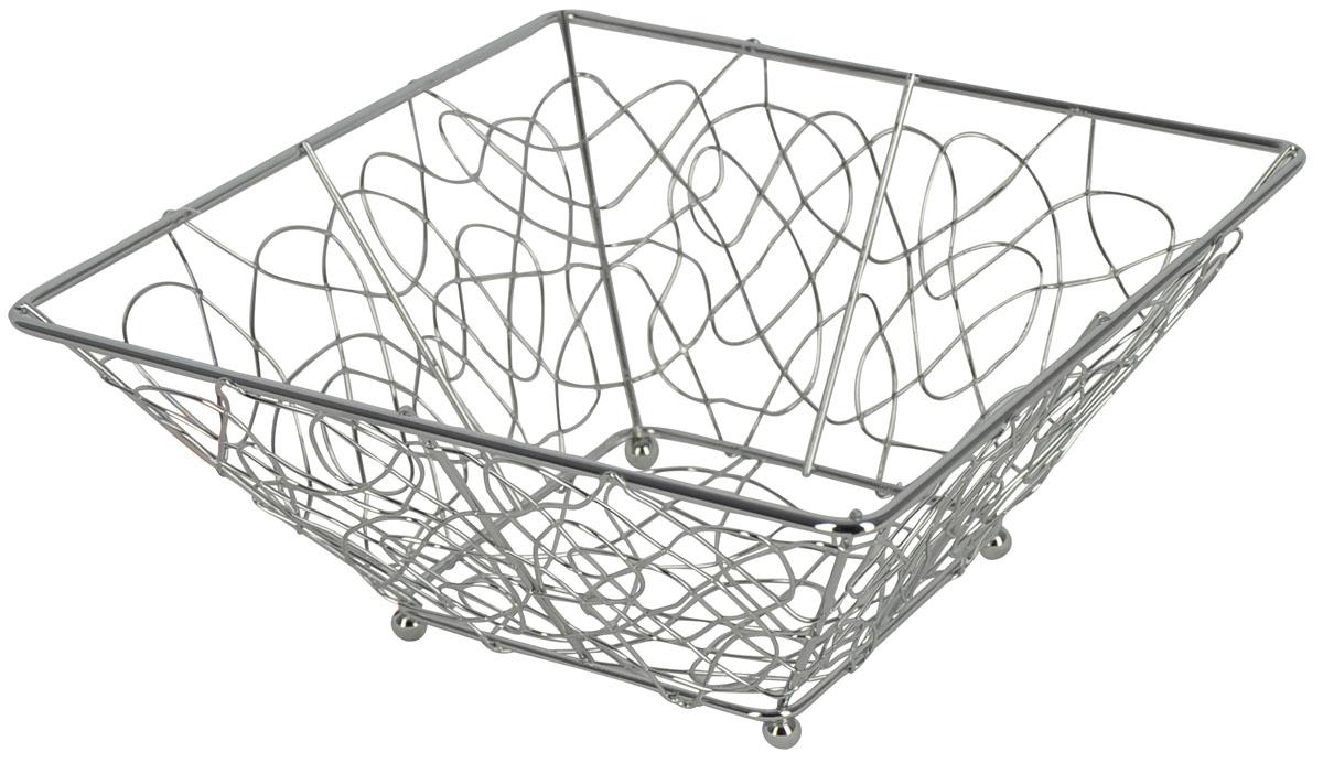 Фруктовница Trina, квадратная. 93-TR-01-0593-TR-01-05Современный дизайн фруктовницы, изготовленной из металла, идеально впишется в интерьер современной кухни. Фруктовница квадратной формы представляет собой узор из стальных прутьев, скрепленных между собой. На нижней части фруктовницы есть четыре металлических шарика - для устойчивости. Характеристики: Материал: хромированная сталь. Размер: 24 см х 24 см х 10 см. Размер упаковки: 24,5 см х 24,5 см х 10,5 см. Производитель: Италия. Артикул: 93-TR-01-05.