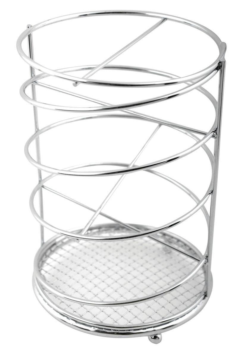Подставка для столовых приборов Trina. 93-TR-05-0193-TR-05-01Подставка для столовых приборов Linea Trina представляет собой каркас из нержавеющей стали со стальной сеткой в нижней части, подставка на трех шарообразных ножках. Разделенная на четыре секции, данная подставка позволяет аккуратно хранить основные типы столовых приборов: ножи, ложки, вилки, чайные ложки. Вы можете установить ее в любом удобном месте. Такая подставка для столовых приборов станет полезным аксессуаром в домашнем быту и идеально впишется в интерьер современной кухни. Характеристики: Материал: нержавеющая сталь. Высота подставки: 16 см. Диаметр подставки: 10,5 см. Размер упаковки: 17 см х 11 см х 11 см. Производитель: Италия. Артикул: 93-TR-05-01.