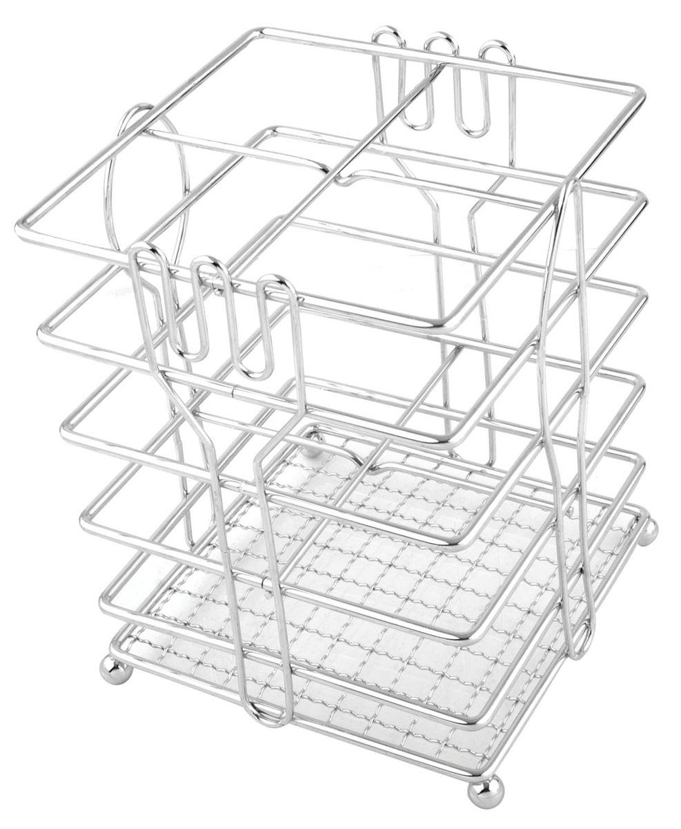 Подставка для столовых приборов Trina93-TR-05-05Подставка для столовых приборов Linea Trina представляет собой каркас из нержавеющей стали со стальной сеткой в нижней части, подставка на четырех шарообразных ножках. Разделенная на четыре секции, данная подставка позволяет аккуратно хранить основные типы столовых приборов: ножи, ложки, вилки, чайные ложки. Вы можете установить ее в любом удобном месте. Такая подставка для столовых приборов станет полезным аксессуаром в домашнем быту и идеально впишется в интерьер современной кухни.