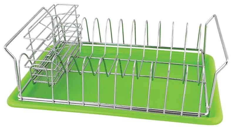 Сушилка для посуды Trina, с поддоном93-TR-10-01Сушилка для посуды Linea Trina выполнена из высококачественной нержавеющей стали, поддон салатового цвета изготовлен из пищевого пластика. В сушилке предусмотрены отделения для тарелок и для столовых приборов. Отделение для столовых приборов, разделенное на три секции, при необходимости вынимается. Благодаря конструкции с вместительным поддоном для сбора воды, вы не будете тратить время на вытирание посуды после мытья. Удобные ручки позволят перенести посуду прямо в сушилке. Стальная часть конструкции защищена от коррозии хромированным покрытием, что гарантирует ей продолжительное время эксплуатации и эстетичный внешний вид. Сушилка для посуды Linea Trina станет незаменимым помощником на кухне. Компактность сушилки позволит расположить ее по вашему усмотрению - на свободном крыле мойки, на столешнице или в навесных шкафах кухонного гарнитура. Оригинальный и современный внешний вид идеально дополнит интерьер кухонного пространства. Сушилка для посуды...