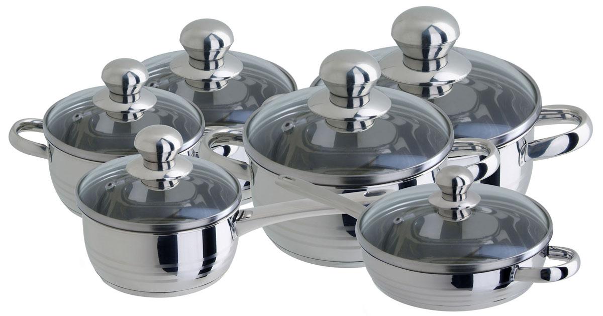 Набор посуды Regent Inox Luna Vitro с крышками, цвет: стальной, 12 предметов93-Lv11Набор высококачественной посуды из нержавеющей стали Regent Inox Luna Vitro состоит из четырех кастрюль с крышками объемами 1,5 л, 2,4 л, 3,3 л, 6,0 л, ковша с крышкой объёмом 1,5 л и сковороды с крышкой и с антипригарным покрытием, диаметром 24,5 см. Посуда Regent Inox Luna Vitro изготовлена из высококачественной нержавеющей стали с комбинированной полировкой. Оптимальное соотношение толщины дна и стенок посуды обеспечивает равномерное распределение тепла, экономит энергию, делает посуду устойчивой к деформации. Многослойное капсулированное дно аккумулирует тепло, способствует быстрому закипанию и приготовлению пищи даже при небольшой мощности конфорок. Все предметы набора оснащены удобными ручками из нержавеющей стали. Ручки прикреплены к корпусу посуды методом точечной сварки, что обеспечивает прочность, надежность и минимальный нагрев ручки. Крышки, выполненные из боросиликатного стекла, позволят вам следить за процессом приготовления пищи. Крышки оснащена...