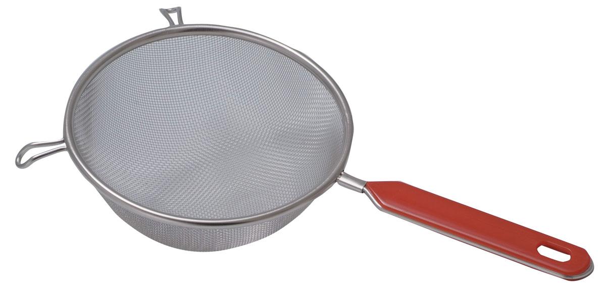 Сито Regent Inox Pronto с пластиковой ручкой, цвет: стальной, красный. Диаметр 16 см93-PRO-02-16Сито Regent Inox Pronto выполнено из высококачественной нержавеющей стали, имеет удобную стальную ручку-пруток с эргономичной пластиковой насадкой красного цвета. Сито предназначено для просеивания муки, процеживания и промывания продуктов. Прочная стальная сетка и корпус обеспечивают изделию износостойкость и долговечность. Такое сито станет достойным дополнением к кухонному инвентарю.