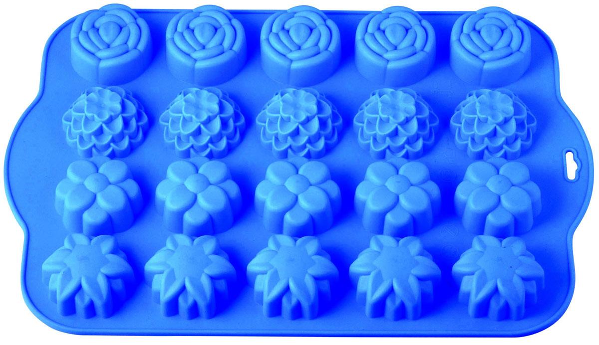 Форма для выпечки и заморозки Regent Inox Летний луг, цвет: синий, 20 ячеек93-SI-FO-62Форма для выпечки и заморозки Regent Inox Летний луг выполнена из силикона и предназначена для изготовления конфет, мармелада, желе, льда и выпечки. На одном листе расположено 20 небольших ячеек в форме цветов. Оригинальный способ подачи изделий не оставит равнодушными родных и друзей. Силиконовые формы выдерживают высокие и низкие температуры (от -40°С до +230°С). Они эластичны, износостойки, легко моются, не горят и не тлеют, не впитывают запахи, не оставляют пятен. Силикон абсолютно безвреден для здоровья. Не используйте моющие средства, содержащие абразивы. Можно мыть в посудомоечной машине. Подходит для использования во всех типах печей. Формы для выпечки и заморозки Regent Inox - отличный подарок! Они удобны и необходимы любой хозяйке!