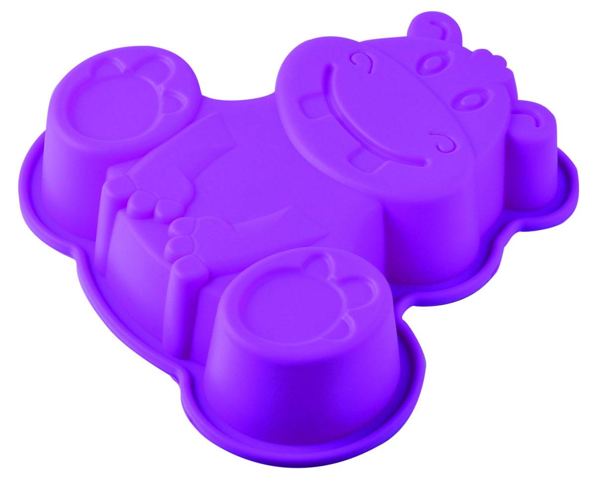 Форма для выпечки и заморозки Regent Inox Бегемот, силиконовая, цвет: фиолетовый, 20 см х 20 см х 4,5 см93-SI-FO-71Форма для выпечки и заморозки Бегемот выполнена из силикона и предназначена для изготовления выпечки, мармелада, желе, мороженого, льда и даже мыла. С помощью формы в виде забавного бегемотика любой день можно превратить в праздник и порадовать детей. Силиконовые формы выдерживают высокие и низкие температуры (от -40°С до +230°С). Они эластичны, износостойки, легко моются, не горят и не тлеют, не впитывают запахи, не оставляют пятен. Силикон абсолютно безвреден для здоровья. Не используйте моющие средства, содержащие абразивы. Можно мыть в посудомоечной машине. Подходит для использования во всех типах печей.