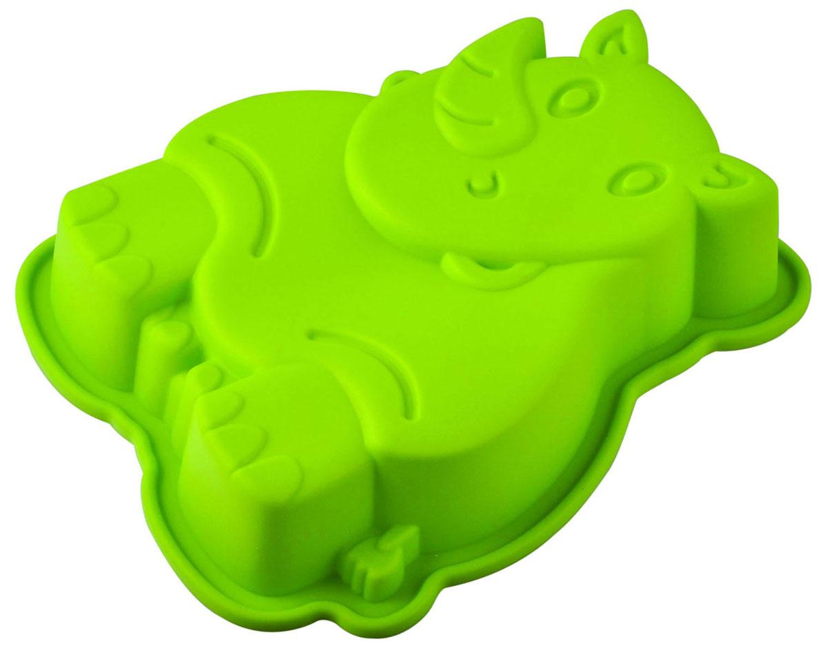 Форма для выпечки и заморозки Regent Inox Носорог, силиконовая, цвет: зелёный, 20 х 15 х 4,5 см93-SI-FO-73Форма для выпечки и заморозки Носорог выполнена из силикона и предназначена для изготовления выпечки, конфет, желе, мороженого и даже мыла. С помощью формы в виде забавного носорога любой день можно превратить в праздник и порадовать детей. Силиконовые формы выдерживают высокие и низкие температуры (от -40°С до +230°С). Они эластичны, износостойки, легко моются, не горят и не тлеют, не впитывают запахи, не оставляют пятен. Силикон абсолютно безвреден для здоровья. Не используйте моющие средства, содержащие абразивы. Можно мыть в посудомоечной машине. Подходит для использования во всех типах печей.