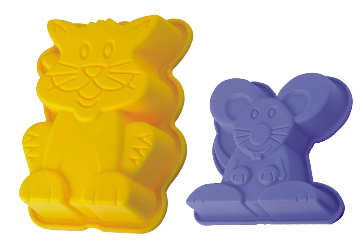 Набор форм для выпечки и заморозки Кошки - мышки, 2 предмета93-SI-S-18Набор для выпечки и заморозки Кошки - мышки состоит из 2 форм в виде кошки и мышки, изготовленных из силикона. Силиконовые формы для выпечки и заморозки продуктов имеют много преимуществ по сравнению с традиционными металлическими формами и противнями. Они идеально подходят для использования в микроволновых, газовых и электрических печах при температурах до +230°С. В случае заморозки до -40°С. За счет высокой теплопроводности силикона изделия выпекаются заметно быстрее. Благодаря гибкости и антиприлипающим свойствам силикона, готовое изделие легко извлекается из формы. Для этого достаточно отогнуть края и вывернуть форму (выпечке дайте немного остыть, а замороженный продукт лучше вынимать сразу). Силикон абсолютно безвреден для здоровья, не впитывает запахи, не оставляет пятен, легко моется. С помощью форм в виде забавных зверушек любой день можно превратить в маленький праздник и порадовать детей. Набор для выпечки и заморозки Кошки - мышки -...