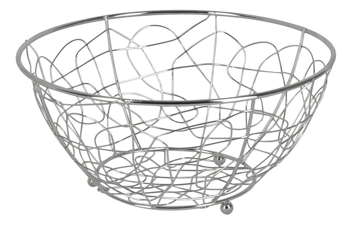 Фруктовница Trina, круглая. 93-TR-01-0193-TR-01-01Современный дизайн фруктовницы Trina, изготовленной из хромированной стали, идеально впишется в интерьер современной кухни. Выполнена в виде чаши, стенки которой состоят из переплетений металлических прутков. Фруктовница имеет ножки с металлическими шариками - для устойчивости. Характеристики: Материал: хромированная сталь. Размер: 23 см х 23 см х 12 см. Размер упаковки: 23,5 см х 23,5 см х 12,2 см. Производитель: Италия. Артикул: 93-TR-01-01.