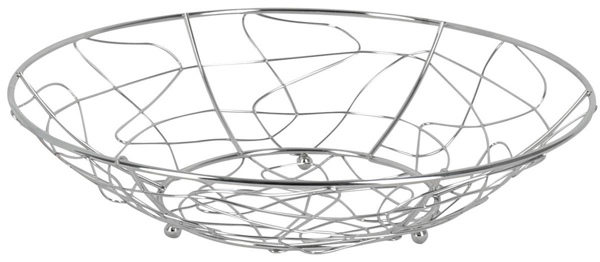 Фруктовница Trina, круглая. 93-TR-01-0393-TR-01-03Современный дизайн фруктовницы, изготовленной из металла, идеально впишется в интерьер современной кухни. Фруктовница круглой формы представляет собой узор из стальных прутьев, скрепленных между собой. На нижней части фруктовницы есть четыре металлических шарика - для устойчивости.