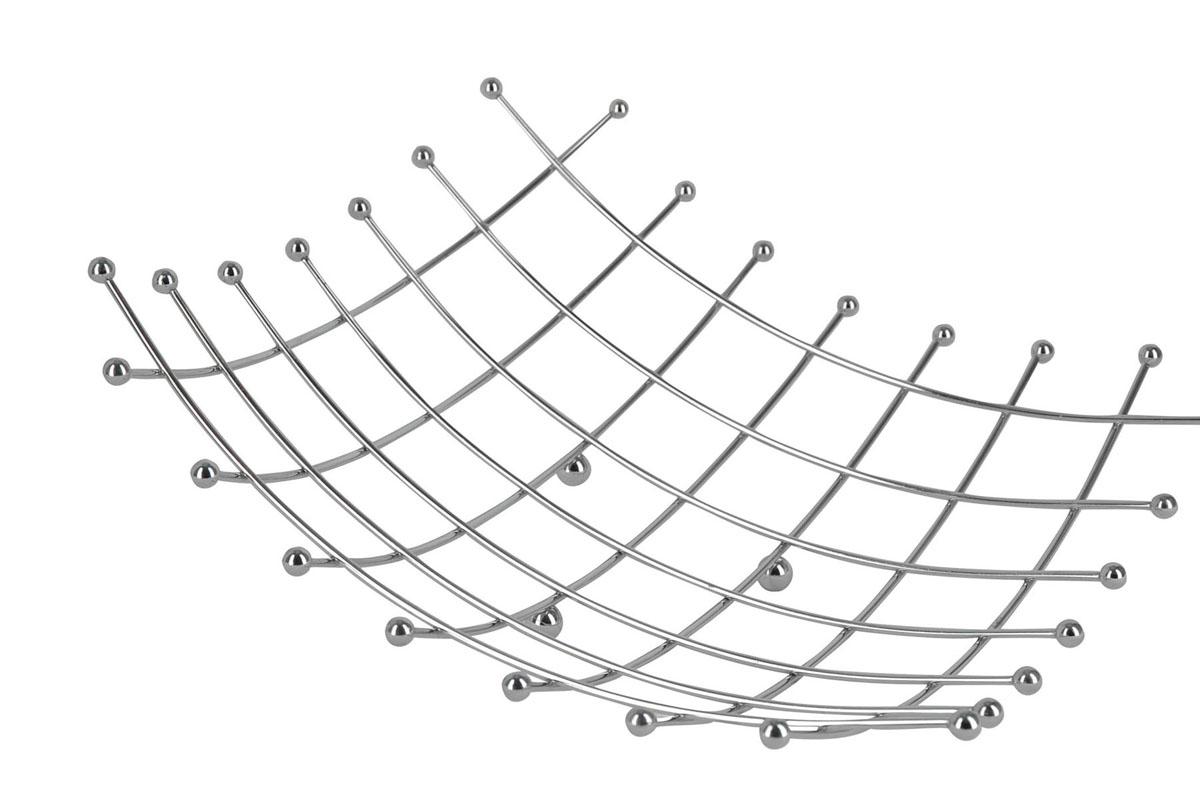 Фруктовница Trina. 93-TR-01-1593-TR-01-15Современный дизайн фруктовницы Linea Trina, изготовленной из нержавеющей стали, идеально впишется в интерьер современной кухни. С помощью фруктовницы можно легко украсить любой стол, наполнив ее разнообразными фруктами. Фруктовница имеет ножки с металлическими шариками - для устойчивости. Характеристики: Материал: хромированная сталь. Размер: 34 см х 34 см х 9 см. Артикул: 93-TR-01-15. Страна: Италия.