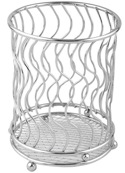 Подставка для столовых приборов Trina. 93-TR-05-0293-TR-05-02Подставка для столовых приборов Linea Trina представляет собой каркас из нержавеющей стали со стальной сеткой в нижней части, подставка на трех шарообразных ножках. Подставка позволяет аккуратно хранить основные типы столовых приборов. Вы можете установить ее в любом удобном месте. Такая подставка для столовых приборов станет полезным аксессуаром в домашнем быту и идеально впишется в интерьер современной кухни. Характеристики: Материал: нержавеющая сталь. Высота подставки: 13 см. Диаметр подставки: 10 см. Размер упаковки: 15 см х 12 см х 12 см. Производитель: Италия. Артикул: 93-TR-05-02.