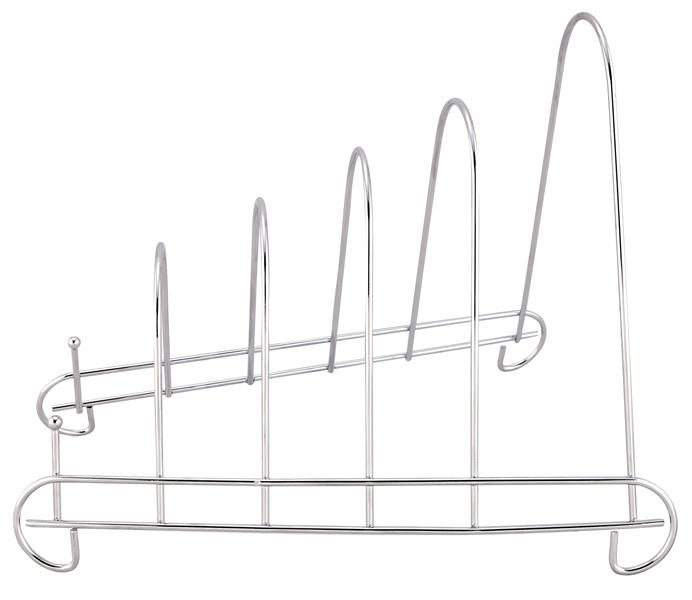 Держатель для разделочных досок Trina, 5 секций93-TR-08-02Держатель для разделочных досок Linea Trina выполнен из высококачественной нержавеющей стали. Стальная конструкция держателя защищена от коррозии хромированным покрытием, что гарантирует ей продолжительное время эксплуатации и эстетичный внешний вид. 5 секций держателя предназначены для удобного хранения разделочных досок различного размера. Держатель для разделочных досок Linea Trina станет незаменимым помощником на кухне. Оригинальный и современный внешний вид идеально дополнит интерьер кухонного пространства.