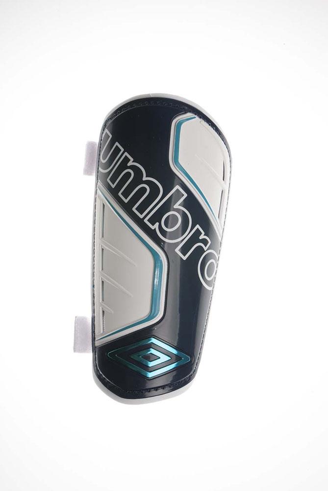 """Щитки футбольные Umbro """"Veloce II Guard Slip"""", жесткие, цвет: бирюзовый, белый, синий. Размер L (52)"""