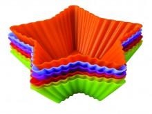 Набор форм для выпечки и заморозки Тарталетки - звезды, 6 шт93-SI-S-17.1Набор форм для выпечки и заморозки Тарталетки - звезды состоит из 6 разноцветных силиконовых форм, выполненных в форме звезды. Силиконовые формы для выпечки и заморозки продуктов имеют много преимуществ по сравнению с традиционными металлическими формами и противнями. Они идеально подходят для использования в микроволновых, газовых и электрических печах при температурах до +230°С. В случае заморозки до -40°С. За счет высокой теплопроводности силикона изделия выпекаются заметно быстрее. Благодаря гибкости и антиприлипающим свойствам силикона, готовое изделие легко извлекается из формы. Для этого достаточно отогнуть края и вывернуть форму (выпечке дайте немного остыть, а замороженный продукт лучше вынимать сразу). Силикон абсолютно безвреден для здоровья, не впитывает запахи, не оставляет пятен, легко моется. Набор форм для выпечки и заморозки Тарталетки - звезды - практичный и необходимый подарок любой хозяйке! Характеристики: Материал:...