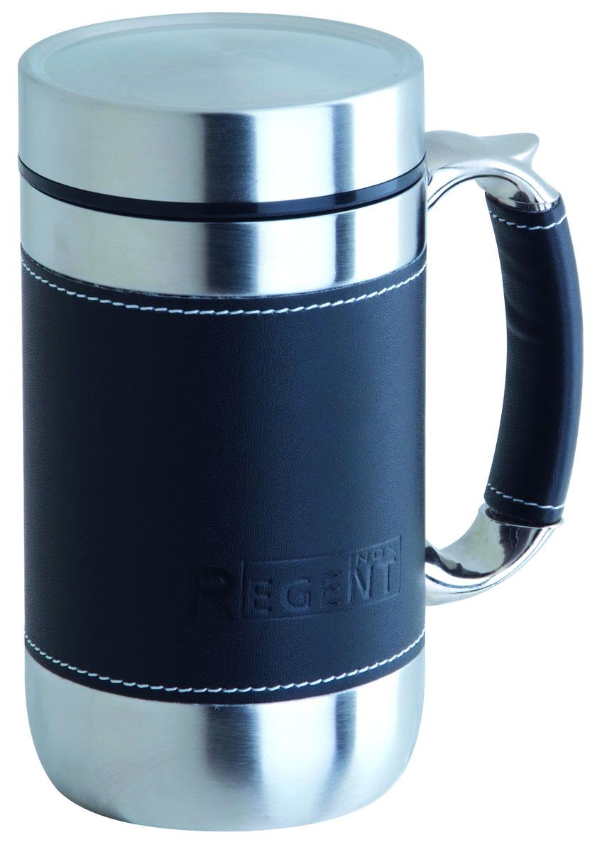 Кружка-термос Regent Inox Gotto, цвет: черный, 0,52 л93-TE-GO-1-520Кружка-термос Regent Inox Gotto удобна для использования в быту, походе и путешествиях. Прекрасно сохраняет температуру напитка. Универсальна, для горячих и холодных напитков. Защищает руки от ожогов, внешняя стенка не нагревается. Компактна, удобна в использовании. Полированная поверхность легко моется. Надежна и долговечна. Экологически безопасна.