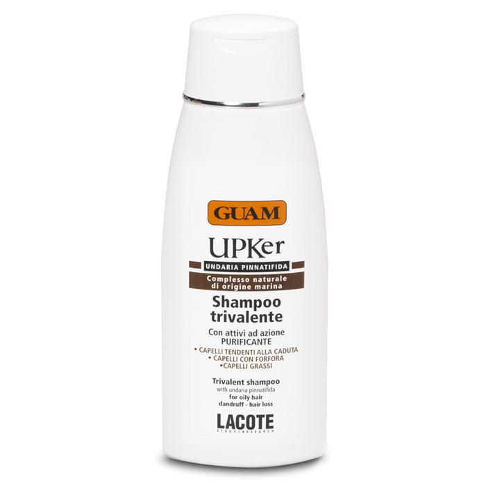 Guam Шампунь тройного действия UPKer, 200 мл0602Шампунь тройного действия Guam UPKer справляется с выпадением волос, с жирной кожей головы и перхотью. Мягко очищает волосы и кожу головы. Стимулирует рост волос, нормализует трихологические нарушения, вызванные излишком салоотделения или перхотью. Укрепляет структуру волос, возвращает им блеск и жизненную силу.