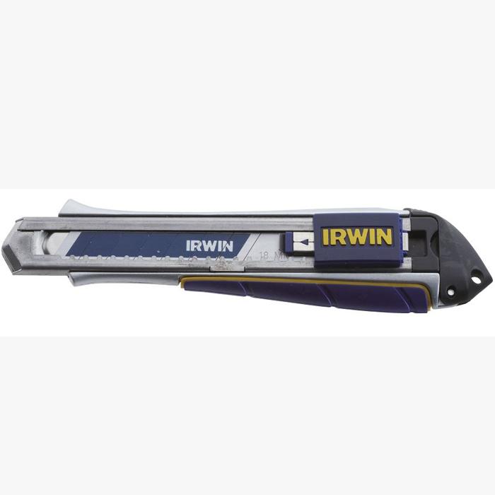 Нож Irwin ProTouch с сегментным лезвием, 18 мм10507106Нож Irwin ProTouch с сегментным лезвием имеет прочный алюминиевый корпус. Механизм автозамены позволяет быстро менять лезвия. Ударопрочный наконечник не отделен от самого корпуса.