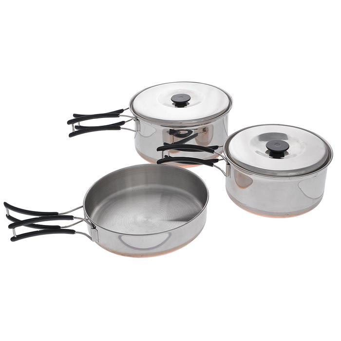 Набор походной посуды RockLand, цвет: стальной, 5 предмета. С758-28813788Набор походной посуды RockLand, изготовленный из нержавеющей стали, идеально подойдет для приготовления пищи во время похода на 2 персоны. Набор включает в себя две небольшие кастрюли с крышками и складными ручками, а также сковороду со складной ручкой. Для большего комфорта ручки покрыты пластиком. Посуда легкая и компактно складывается, поэтому не займет много места, для большего удобства в комплект входит удобный чехол. Объемы кастрюли: 1,3 л; 0,9 л. Размер большой кастрюли: 17 см х 17 см х 8 см. Размер маленькой кастрюли: 15 см х 15 см х 7 см. Объем сковороды: 0,8 л. Размер сковороды (без учета ручки): 16 см х 16 см х 3,5 см.