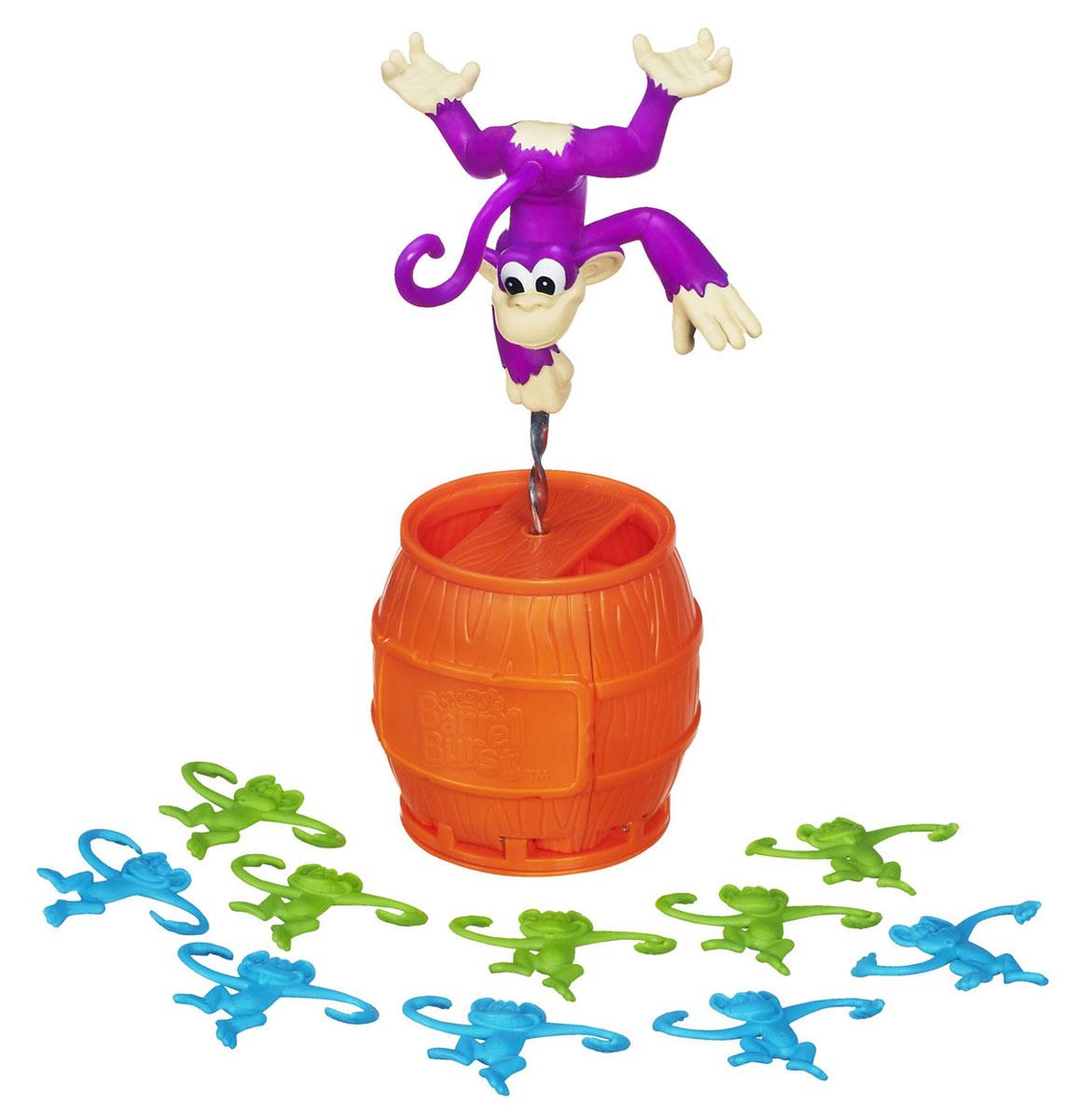 Настольная игра Elefun and Friends Взрыв ЧикиA2041С помощью игрового набора Elefun and Friends: Взрыв Чики ваш малыш весело сможет провести время. Игрушка представляет собой юлу. Основа ее выполнена из пластика в виде бочки, ручка - в виде обезьянки Чики. С этим игровым набором можно играть как одному, так и в компании друга. Необходимо сложить маленькие фигурки обезьянок в бочку и нажать на ручку. Бочка раскроется, и фигурки разлетятся в разные стороны. Нужно как можно скорее собрать обезьянок своего цвета и повесить на Чики. Побеждает тот, кто сделает это первым. В наборе бочка-юла с большой обезьянкой и 10 фигурок обезьянок (по 5 голубого и салатового цветов).