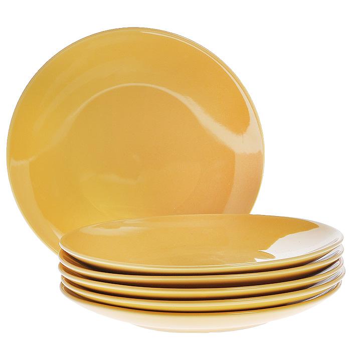 Набор тарелок, цвет: желтый, 270 мл, 6 штКт CG-911A-YEНабор включает в себя шесть тарелок, выполненных из высококачественной керамики. Лаконичность оформления набора придется по вкусу и ценителям классики, и тем, кто предпочитает утонченность и изысканность. Тарелки являются экологически безопасными, так как не содержат кадмия и свинца.