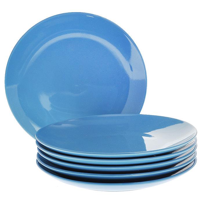 Набор тарелок, цвет: синий, 210 мл, 6 штКт CG-911C-BLНабор включает в себя шесть тарелок, выполненных из высококачественной керамики. Лаконичность оформления набора придется по вкусу и ценителям классики, и тем, кто предпочитает утонченность и изысканность. Тарелки являются экологически безопасными, так как не содержат кадмия и свинца.