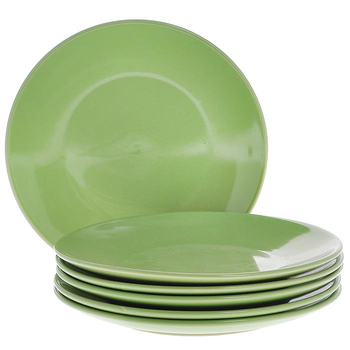 Набор тарелок, цвет: зеленый, 210 мл, 6 штКт CG-911C-GRНабор включает в себя шесть тарелок, выполненных из высококачественной керамики. Лаконичность оформления набора придется по вкусу и ценителям классики, и тем, кто предпочитает утонченность и изысканность. Тарелки являются экологически безопасными, так как не содержат кадмия и свинца.