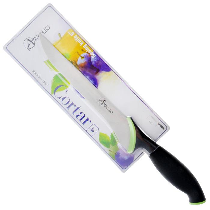 Нож филейный Apollo Cortar, цвет: черный, зеленый, длина лезвия 15 смCOR-05Нож Apollo Cortar изготовлен из высококачественной нержавеющей стали. Эргономичная рукоятка выполнена из высококачественного пищевого прорезиненного пластика черно-зеленого цвета. Рукоятка не скользит в руках и делает резку удобной и безопасной. Этот нож идеально шинкует, нарезает и измельчает продукты. Его острие опущено вниз, центр тяжести смещен вперед, что позволяет прикладывать меньше усилий при работе ножом. Такой нож займет достойное место среди аксессуаров на вашей кухне. Заточка ножа Apollo Cortar производится так же, как и обычного кухонного ножа. Не рекомендуется мыть в посудомоечной машине.