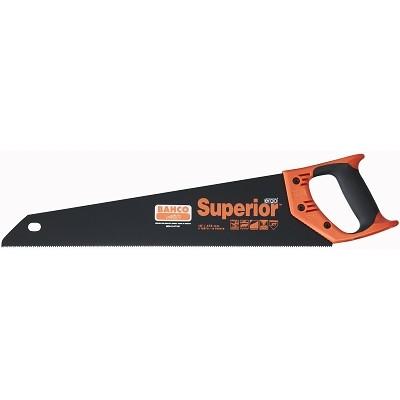 Ножовка по дереву Bahco Superior, 55 см. 2600-22-XT-HP2600-22-XT-HPНожовка по дереву Bahco предназначена для пиления древесины мягких и твердых пород, фанеры, ДСП, ПХВ. Эргономичная рукоятка позволяет точно вести инструмент во время работы. Уникальная геометрия закаленного зуба XT позволяет ножовке оставаться острой на протяжении долгого времени. Увеличенная толщина полотна обеспечивает высокоточный прямой пропил и исключительную стабильность. Имеет низкофрикционное антикоррозийное покрытие. Двухкомпонентная рукоятка позволяет размечать углы в 45° и 90°.