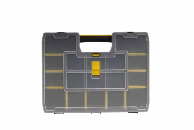 Органайзер Stanley Sort Master, 43 х 33 х 9 см1-94-745Пластмассовый органайзер Stanley Sort Master с переставными перегородками, которые позволяют организовывать внутреннее пространство для одновременного размещения как инструментов, так и небольших аксессуаров и принадлежностей. Крышка имеет спецальные внутренние ребра жесткости для надежной фиксации перегородок в вертикальном положении, что предотвращает перемещение содержимого одной секции в другую. Замок на крышке обеспечивает сохранность содержимого. Возможны 1024 варианта организации внутреннего пространства органайзера.