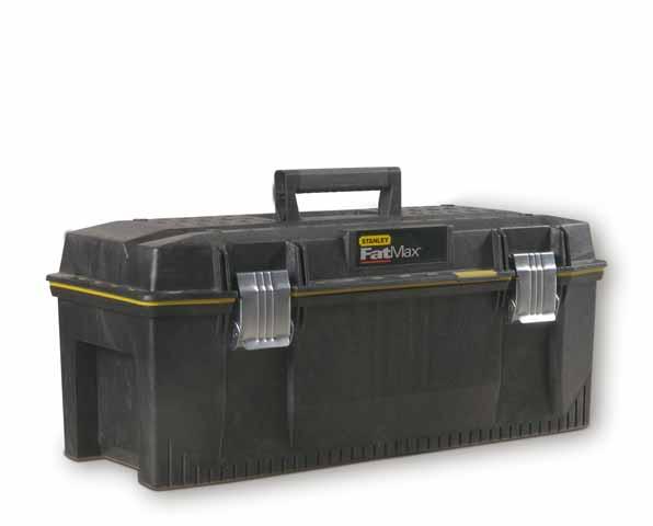 Ящик для инструментов Stanley FatMax, влагозащитный, 281-93-935Ящик для инструмента профессиональный FatMax из структулена влагозащитный повышенной прочности и емкости предназначен для хранения и переноски инструментов. Водозащитное уплотнение по периметру ящика для исключительной защиты содержимого. Переносной лоток для транспортировки инструмента и мелких деталей, при этом в ящике остается место под крупный инструмент, поскольку длина лотка составляет всего 3/4 от длины ящика. Изготовлен из структулена для обеспечения жесткости и прочности. Большие металлические с защитой от коррозии замки с возможностью использования навесного замка (в комплект поставки не входит). V-образный паз в крышке ящика для удобства расположения детали при пилении. Прочная эргономичная ручка с мягкими вставками позволяет с легкостью переносить тяжелые вещи.