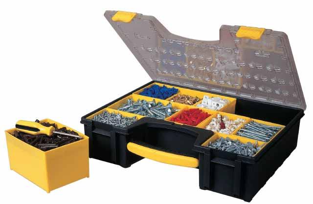Органайзер профессиональный Stanley с 8-мью съемными отделениями, 42,2 см х 33,5 см х 10,6 см1-92-749Органайзер профессиональный Stanley изготовлен из высококачественного прочного пластика и предназначен для хранения и переноски инструментов, рыболовных принадлежностей и различных мелочей. Ударопрочная прозрачная крышка из поликарбоната имеет специальную конструкцию, удерживающую отделения для хранения на месте. Не выступающая за габариты органайзера широкая ручка для удобства переноски и хранения. Прочные пластиковые петли.