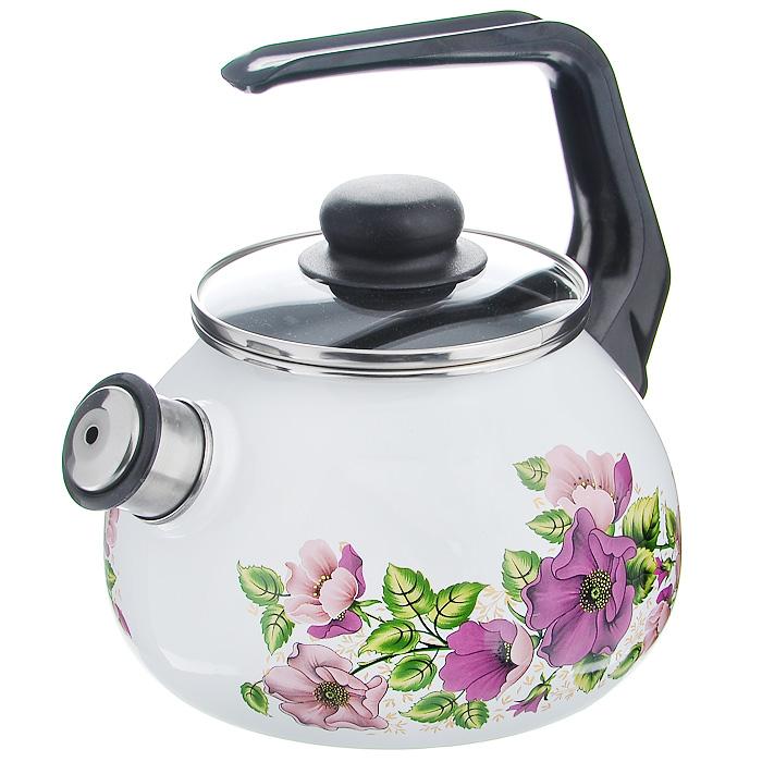 Чайник Violeta со свистком, цвет: белый, черный, 2 л1RA12 Violeta белыйЧайник Violeta изготовлен из высококачественного стального проката со стеклокерамическим покрытием. Корпус белого цвета оформлен красочным изображением цветов. Стеклокерамика инертна и устойчива к пищевым кислотам, не вступает во взаимодействие с продуктами и не искажает их вкусовые качества. Прочный стальной корпус обеспечивает эффективную тепловую обработку пищевых продуктов и не деформируется в процессе эксплуатации. Чайник оснащен черной пластиковой удобной ручкой. Крышка чайника выполнена из стекла с пароотводом, что позволяет сохранять тепло. Носик чайника с насадкой-свистком позволит вам контролировать процесс подогрева или кипячения воды. Чайник Violeta пригоден для использования на всех видах плит, включая индукционные. Можно мыть в посудомоечной машине. Характеристики: Материал: нержавеющая сталь, пластик, стекло. Цвет: белый, черный. Объем: 2 л. Диаметр основания чайника: 18 см. Высота чайника (с учетом...