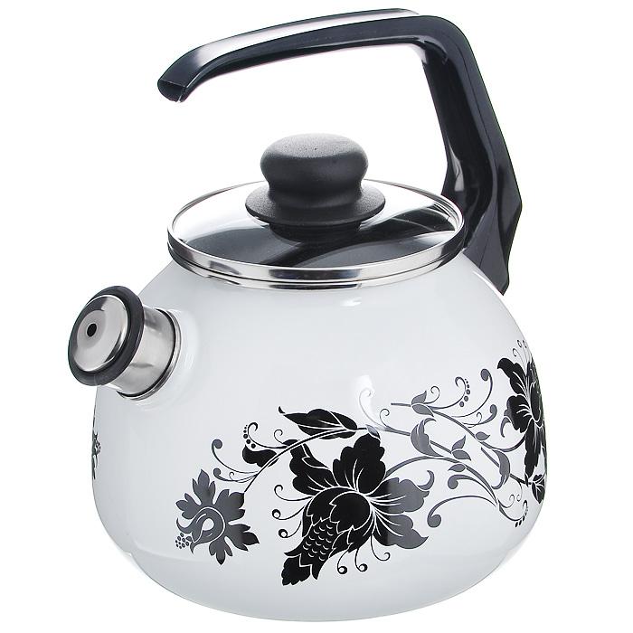 Чайник Tango со свистком, цвет: белый, черный, 3 л8RC12, белый, черный TangoЧайник Vitross Tango изготовлен из высококачественного стального проката со стеклокерамическим покрытием. Корпус белого цвета оформлен изящным узором. Стеклокерамика инертна и устойчива к пищевым кислотам, не вступает во взаимодействие с продуктами и не искажает их вкусовые качества. Прочный стальной корпус обеспечивает эффективную тепловую обработку пищевых продуктов и не деформируется в процессе эксплуатации. Чайник оснащен черной пластиковой удобной ручкой. Крышка чайника выполнена из стекла с пароотводом, что позволяет сохранять тепло. Носик чайника с насадкой-свистком позволит вам контролировать процесс подогрева или кипячения воды. Чайник Vitross Tango пригоден для использования на всех видах плит, включая индукционные. Можно мыть в посудомоечной машине. Характеристики: Материал: нержавеющая сталь, эмалевое покрытие, стекло. Цвет: белый, черный. Объем: 3 л. Диаметр основания чайника: 18 см. Высота чайника (с...