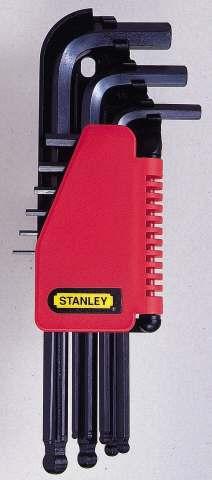 Набор шестигранников Stanley, 9 шт0-69-256Набор шестигранников Stanley имеет складной футляр для хранения с маркировкой, который позволяет быстро вынимать нужный ключ. Шар на длинной части ключа позволяет работать под углом к оси крепежных элементов, расположенных в труднодоступных местах.