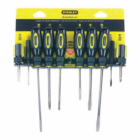 Набор отверток Stanley Basic, 10 шт0-60-100Набор отверток Stanley Basic предназначен для отвинчивания и завинчивания винтов, шурупов и других деталей с резьбой, на головке которых имеется шлиц. B набор входят: 6 отверток с прямым шлицем и 4 отвертки с крестообразным шлицем. Набор можно закрепить на стене с помощью специального пластмассового крепления входящего в комплект.