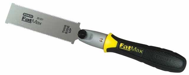 Мини-ножовка Stanley FatMax с полотном с двумя режущими кромками, 13 см0-20-331Ножовка Stanley FatMax предназначена для пиления в труднодоступных местах или в плоскостях, находящихся на другом по отношению к пиле уровню, например, заподлицо с полом. Эргономичная рукоятка из 2 материалов.