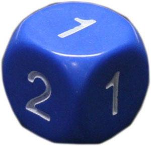 Набор костей игральных Простые, D2, 2 шт, цвет: в ассортименте13497Набор состоит из двух игральных костей на 1,2. В игре заменяет Да/Нет, Вышло/Не вышло. Размер 16 мм. Могут использоваться как гадальные кости.