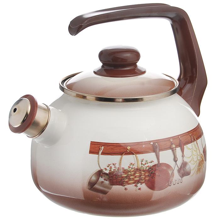Чайник Кухня со свистком, цвет: бежевый, коричневый, 2,5 л115432Чайник Кухня, изготовлен из высококачественной стали, с эмалированным покрытием. Корпус оформлен изображением кухонных принадлежностей. Эмалированное покрытие устойчиво к механическому воздействию, не царапается и не сходит, а стальная основа практически не подвержена механической деформации, благодаря чему срок эксплуатации увеличивается. Чайник оснащен удобной пластиковой ручкой и стальной крышкой. Носик чайника с насадкой-свистком позволит вам контролировать процесс подогрева или кипячения воды. Чайник Кухня пригоден для использования на всех видах плит, включая индукционные. Можно мыть в посудомоечной машине.
